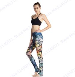 Colorati collant da corsa online-Pantaloni colorati Yoga Pantalone Retro Farfalla Sports Running Leggings Pantaloni fitness Vintage Style Ladies Slim Tights Seamless
