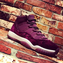 Wholesale Decorative Leather - With Real Carbon Fiber+Box Retro 11 Velvet Heiress GS Decorative pattern Women Mens Basketball Shoes 11s Sports Sneakers Size 36-44(4Y-7Y)