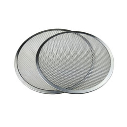 Wholesale Pastry Trays - 12'' Aluminum Pizza Tray Mesh Round Pizza Screen Pastry Baking Tools Pancake Net Baking Pan Pizza Net Baking Accessories ZA3032