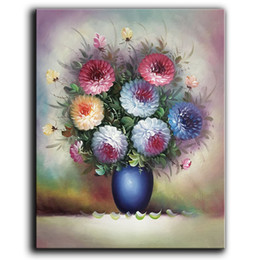 Wholesale Modern Abstract Flower Canvas Paintings - 100% Hand-painted Oil Painting on Canvas Beautiful Colorful Blooming Flowers Paintings Modern Home Decor Art