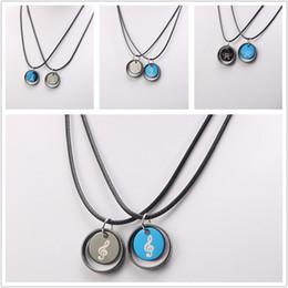 Wholesale Mens Crosses - New romantic mens cross necklace couple five - pointed anchor pendant necklaces Titanium steel Leather rope necklaces