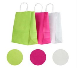 Wholesale Wedding Kraft Bags - Wholesale- 10PCS lot Kraft paper bag with handles 21*15*8cm   Festival gift bags for wedding baby birthday party
