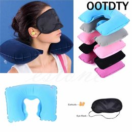 Wholesale U Shaped Airplane Pillow - Wholesale- OOTDTY U-Shape Travel Pillow for Airplane Inflatable Neck Pillow Travel Accessories Comfortable Pillows for Sleep Home Textile
