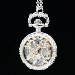 Wholesale Wholesale Mens Vintage Watches - Wholesale-Retro Vintage Bronze Silver Butterfly in Flowers Lovely Small Quartz Pocket Watch Necklace Pendant Chain Mens Womens Gifts
