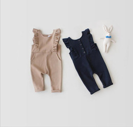 Wholesale Girls Suspender Pants - Infant Baby Girls Cotton Ruffle Overalls Toddler Fashion Casual Suspender Pants 2017 Babies Childrens Summer clothing