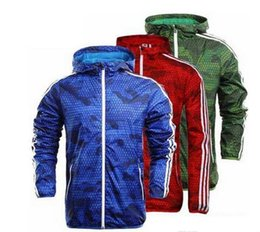 Wholesale Thin Hoodie Men - Fall-Hot ! Men Spring Autumn Thin Jacke Men sportswear high quality waterproof fabric sports coat Fashion zipper hoodie Free shipping