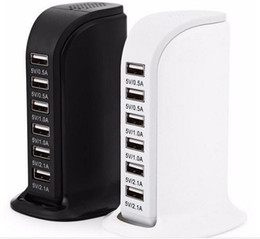 Wholesale Apple Phone Adapter - US EU UK AU 30W 6 USB Charging Station Hub Sailboat Tower 6 Ports USB Power Adapter Wall Charger Portable Travel Charger Plug for Phones