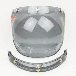 Wholesale Vintage Bubble Shield - Flip up 3-snap Bubble Shield Visor 3 4 Open Face Motorcycle helmet Lens vintage retro Jet Helmet lens glass for Harley motorcycle lens