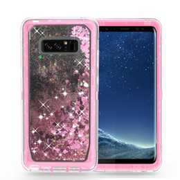 Wholesale Iphone Covers Rhinestones - Quicksand Rhinestone Case For iphone X 8 7 Plus Note8 S8 Glitter Transparent Liquid TPU Cover Clear Robot With Belt Clip A