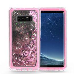 Wholesale Tpu Glitter Case - Quicksand Rhinestone Case For iphone X 8 7 Plus Note8 S8 Glitter Transparent Liquid TPU Cover Clear Robot With Belt Clip A
