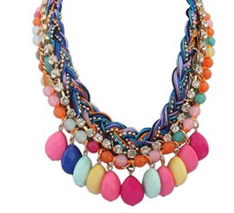 Wholesale Red Crystal Bib Necklace - Collares Collier Fashion Bohemia Knitting Necklace Choker Collar Bib Statement Maxi Necklaces Pendant Jewelry for Women New 2017