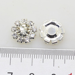 Wholesale Metal Craft Buttons - 50pcs 12mm Flower Metal Rhinestone Button Wedding Embellishment Crafting DIY Hair Flower Accessory