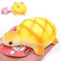 Wholesale Kawaii Plastic Food - 20pcs lot Jumbo 14cm Kawaii Soft Yellow Turtle Bun Squishy Turtles Collectibles Bread Food Toys Phone Charm Squeeze Toy Wholesale