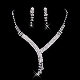 Wholesale Cheap Ladies Accessories - 2017 Shinning Rhinestone Blue Lady Necklace Earring Sets Bridal Accessories Jewelry for Wedding Party Evening Prom In Stock Cheap
