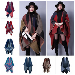 Wholesale Winter Scarfs Fashion Style - 18 styles New Winter designer Oversized Thick Warm Plaid Scarves Knit Shawl Fashion Vintage Pashmina Cashmere Scarf Women Poncho Cape YYA454