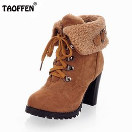 Wholesale Wedge Heel Shoes Size 32 - women high heel half short ankle boots winter martin snow botas fashion footwear warm heels boot shoes AH195 size 32-43