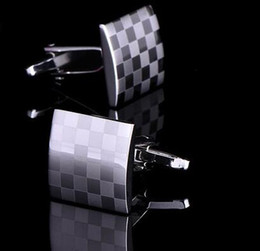 Wholesale Wholesale Men Business Shirts - NEW Square tartan cuff links shirts business suit men cufflinks French metal cuffs links