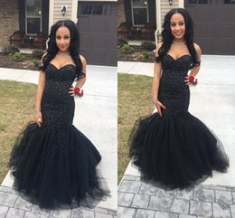 Wholesale Dresses Sequine - 2K17 Sexy Black Beaded Sequine Mermaid Prom Party Dresses 2017 Vestidos Sweetheart Backless with Tiered Ruffles Long Evening Pageant Dresses