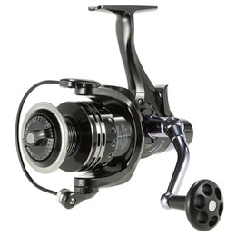 Wholesale drag reels - Front And Rear Double Drag System 11+1BB Spinning Metal Fishing Reel 3000-6000 Aluminium Spool Dual Brake Wheel