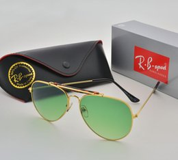 Wholesale aviator sunglasses for women - Brand Designer Classic Aviator Sunglasses for men women Metal Frame Driving glasses uv400 Protection Mirror Goggle with box and cases