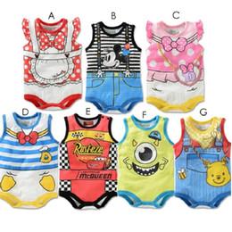 Wholesale Baby Boy Daisies - 2017 Summer Cartoon Baby Bodysuit Mickey Boys Clothes Minnie Baby Girl Jumpsuits Daisy Donald Duck Newborn Clothes Sleeveless