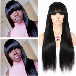 Wholesale Lace Front Wigs Fringe - Charming Ladies Wigs Long Hair with Bangs Cheap Lace Front Wig With Fringe Full Lace Wig With Bangs For Black Womens Straight Wig