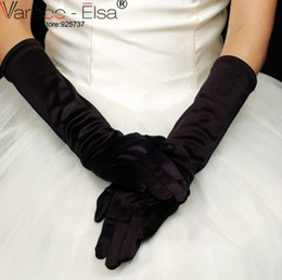 Wholesale Ladies Black Dress Gloves - In Stock Wholesale Bride Black White Ivory Red 2017 Ladies Wedding Gloves Evening Dress Elbow Long Satin Bridal Glove Cheap Gloves