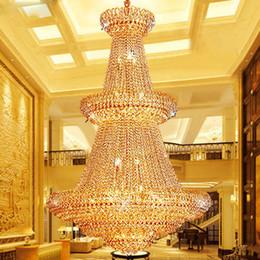 Candelabros de salón online-American Gold Crystal Chandeliers Lamp Moderno Golden Crystal Chandeliers Luces de iluminación Salón del hotel europeo Salón Bar Home Iluminación interior