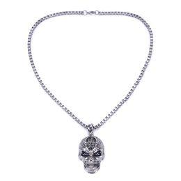 "Wholesale Mens Necklace Length - 10pcs lot Fashion Gothic Punk Skull Black Silver Tone Necklace Pendant Mens Boys Jewelry Length 22"" Wholesale"