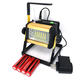Wholesale Rechargeable Led Flood Lights - 2017 New Rechargeable LED Flood Light 50W Reflector Led Light Spotlight Waterproof Portable Outdoor Floodlight + 4x18650 Battery & Charger