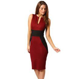 Wholesale Empire Waist Xxl - Summer Women Elegant Sleeveless V-Neck Empire Waist Vintage Black Red White Patchwork Bodycon Knee-Length Casual Dress xxl Size