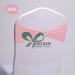 Wholesale Cheap Chair Sash Buckles - Cheap Price Pink Lycra Spandex Chair Sash \ Chair Band With Crown Buckle