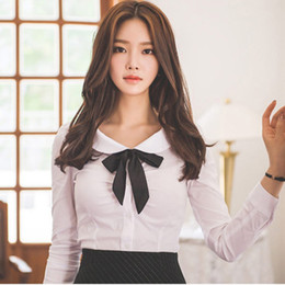 Wholesale Bow Shirts Xl - Korean bow neck blouse xl plus size shirts for cheap women shirt white long sleeve blouse for teenagers