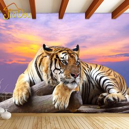 Wholesale Tiger Bedroom Wall - Wholesale- Custom Photo Wallpaper Tiger Animal Wallpapers 3D Large Mural Bedroom Living Room Sofa TV Backdrop 3D Wall Murals Wallpaper Roll