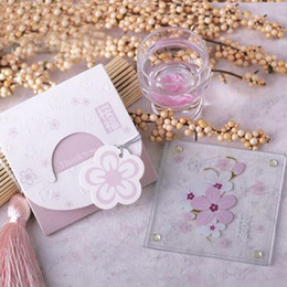 Wholesale Bridal Party Themes - Love Theme Cherry Blossom Sakura Flower Glass Coaster Wedding Bridal Shower Party Favors Souvenir Return Gift ZA3809