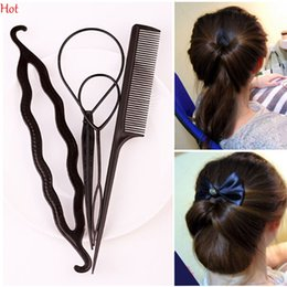 Wholesale Hair Bun Braided - 4 Pcs Hair Twist Styling Clip Stick Bun Donut Maker Braid Tool Set Hair Ponytail Tool Headband Hair Accessories Plastic Black Pink LPP001239
