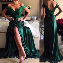 Wholesale Dresses Silk Women 16 - New Arrival Real Sample Evening Dress Long Dark Green Sexy Split Design Satin Evening Party for Women Vestido De Festa Custom Made