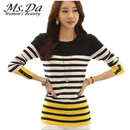 Wholesale Yellow Striped Sweater Women - Wholesale- 2016 New Women Sweater and Pullovers Autumn Striped Knitted Sweaters Woman Crochet Tunics Long-Sleeve Casual Knitwear Top Yellow