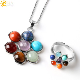 Wholesale Point Ring - CSJA 7 Chakra Natural Stone Beads Charms Pendant Necklaces Rings Set Life Flower Yoga Healing Point Charm Reiki Jewelry Sets for Women E389