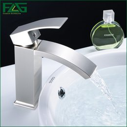 Wholesale Deck Mounted Tub - FLG Basin Faucet Bathroom Tub Waterfall Faucet Single Handles Mixer Cold & Hot Bathroom Faucet Brushed Nickel Water Taps M259