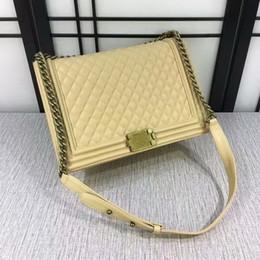 Wholesale Sale Vintage Bags - Hot sales Newest Fashion Classic Style women handbags 30cm Le Boy Leather Plaid Flaps totes Shoulder Chain Bags Vintage Gold Silver Hardware