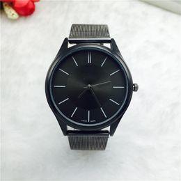 Wholesale Ultra Thin Mens Watch - 2017 New Mens Watches Top Brand Luxury Men Stainless Steel Wristwatches Ultra Thin Dial Clock Women Lovers Men Quartz-Watch erkek kol saati