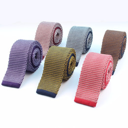 Wholesale Slim Knitted Ties - Wholesale- Fashion Men's Colourful Knit Tie Star Point Knitted Ties Dot Sample Necktie Narrow Slim Skinny Woven Cravate Narrow Neckties