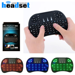 Wholesale Russian Keyboard For Tablet - Mini Wireless Keyboard 3 colour backlite 2.4GHz English Russian Air Mouse Remote Control Touchpad blacklight For Android TV Box Tablet Pc
