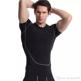 Wholesale Bodywear Man - Men's Sports Casual Tights Black Short-Sleeve T-Shirt Bodywear Yoga Wear