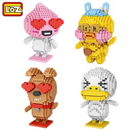 Wholesale Korean Red Tube - 4pcs LOZ figures frodo Building Block Diamond Tiny apesch block Cute Korean expression Action tube Figures with red heart eyes