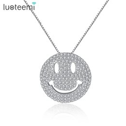 Wholesale Mother Pearl Flower Necklaces - LUOTEEMI Luxury White Gold Color Clear Cubic Zirconia Micro Paved Round Smiley Emoji Face Pendant Necklace For Women Girls Gift
