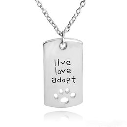 Wholesale Footprints Pendant - 2017 live love adopt footprints love heart-shaped necklace loving father faher's Day gift jewelry between mother and daughter