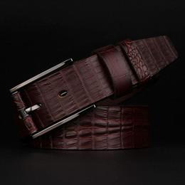 Wholesale Wide Metal Belt Silver - New Arrival Wide Men Belt Pin Buckle Genuine Leather Designer Crocodile Pattern Belts Men High Quality Luxury Strap Male Belts Jeans Cintos