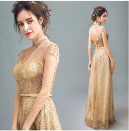 Wholesale Luxury Ladies Dress Prom - 2017 New Cheap Real Image Luxury Evening Dress Chinese Style In Cheongsam A Line High Neck Lace-up Back Sweep Train Vintage Prom Lady Dress